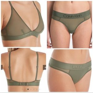 Calvin Klein Tonal Logo Thong and bra set